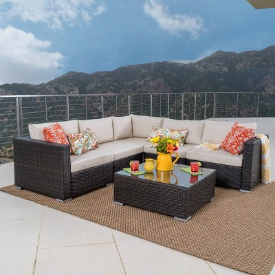 Santa Rosa 6pc Wicker Patio Seating Sectional Set with Cushions - Multi Brown with Beige Cushions - Christopher Knight Home