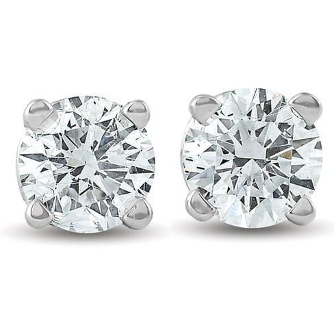 Pompeii3 1/2Ct Round Brilliant Cut Diamond Stud Earrings in 14K Gold Classic Setting - image 1 of 4