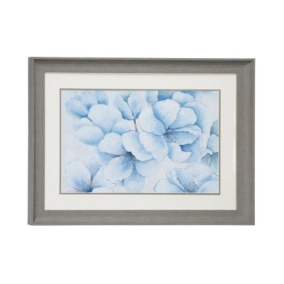 "23.5"" x 17.5"" Flowers Print in Rectangular Gray Frame Blue - Olivia & May"