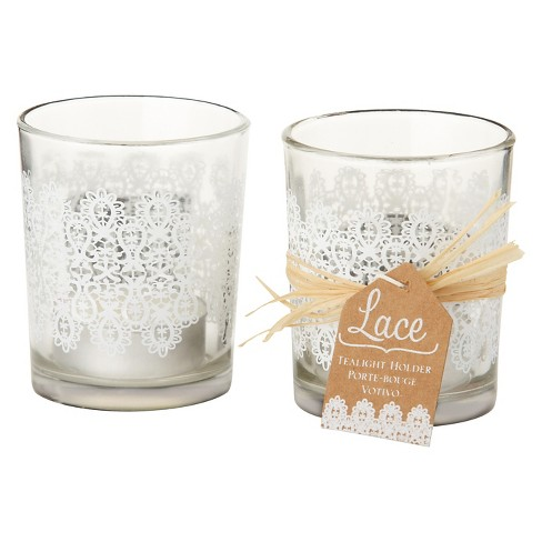 12ct Lace Glass Tealight Holder White - Kate Aspen® - image 1 of 1