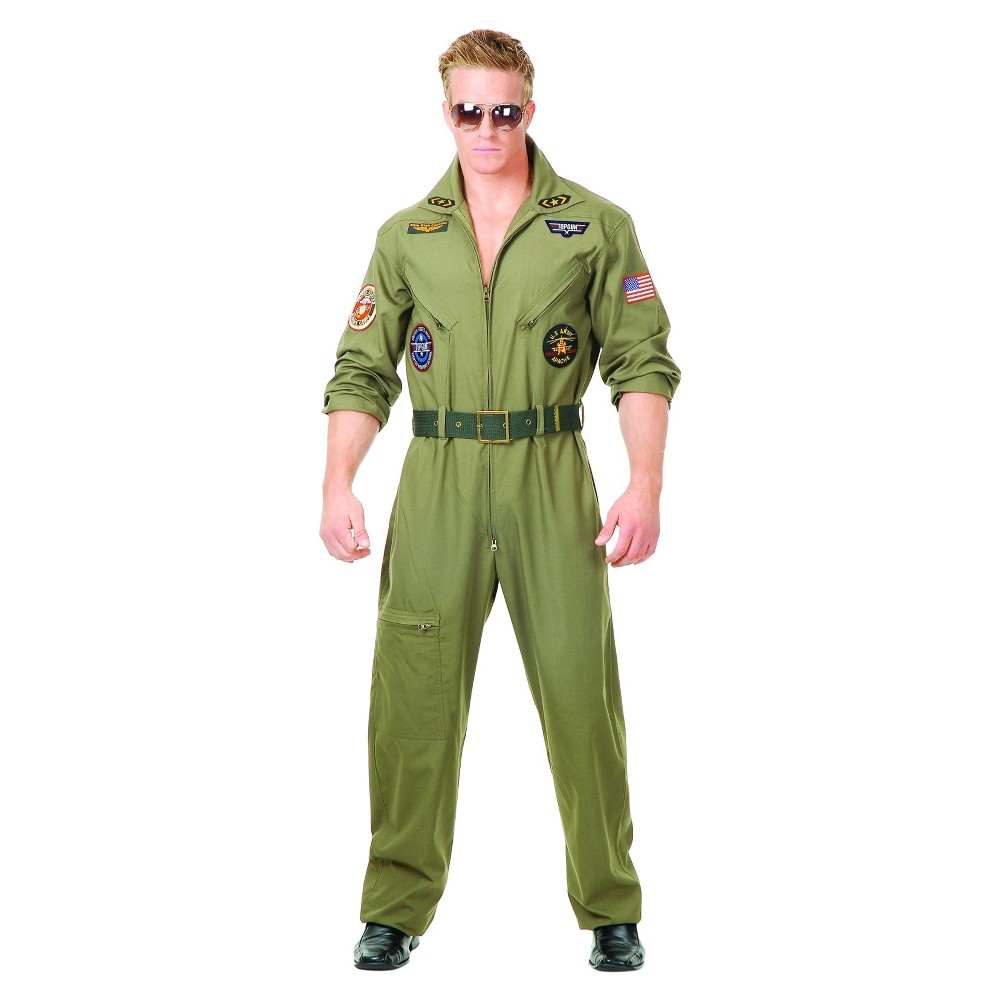 Image of Halloween Men's Top Gun Costume Large, Green