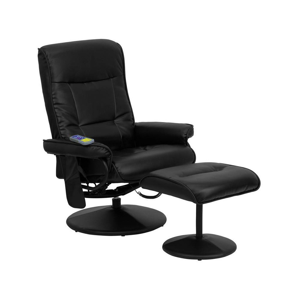 Image of 2pc Massaging Multi Position Recliner with Side Pocket Set Black - Riverstone Furniture Collection