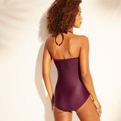 ebb6623ee376b Women's Shirred Scallop Halter One Piece Swimsuit - Kona Sol™ : Target
