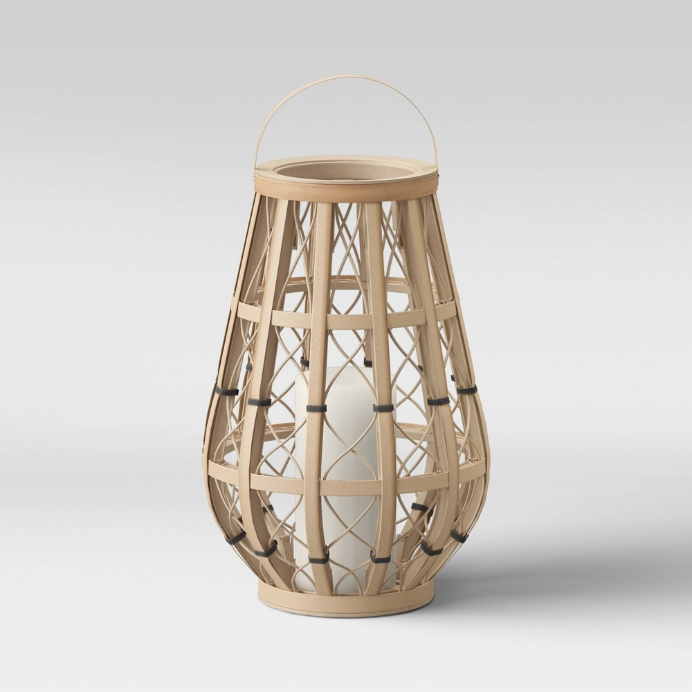 "Image of ""18"""" Large Woven Ogee Outdoor Lantern Natural - Opalhouse"""