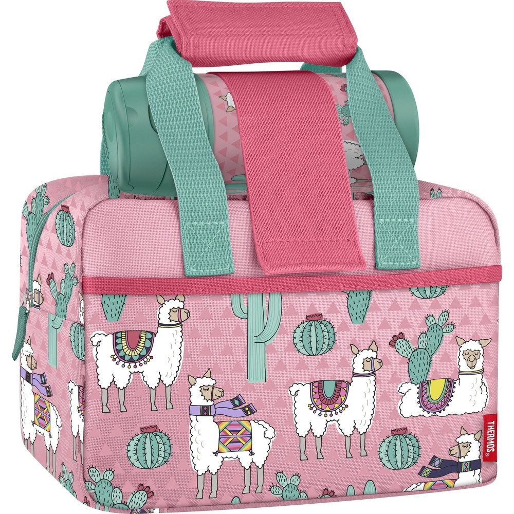 Image of Thermos Lunch Duffel with Water Bottle - Llamas, Pink
