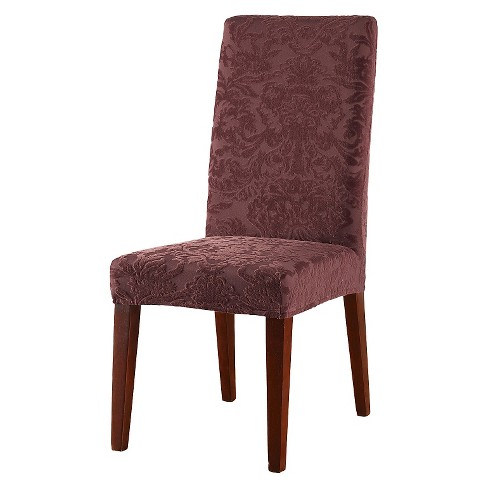 Stretch Jacquard Damask Short Dining Room Chair Cover - Sure Fit - image 1 of 2