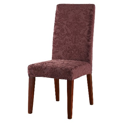 Stretch Jacquard Damask Short Dining Room Chair Cover   Sure Fit