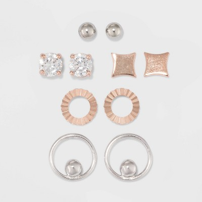 Two-Tone Sterling Silver Stud Multi Shape with Cubic Zirconia Fine Jewelry Earring Set 5pc - A New Day™ Silver