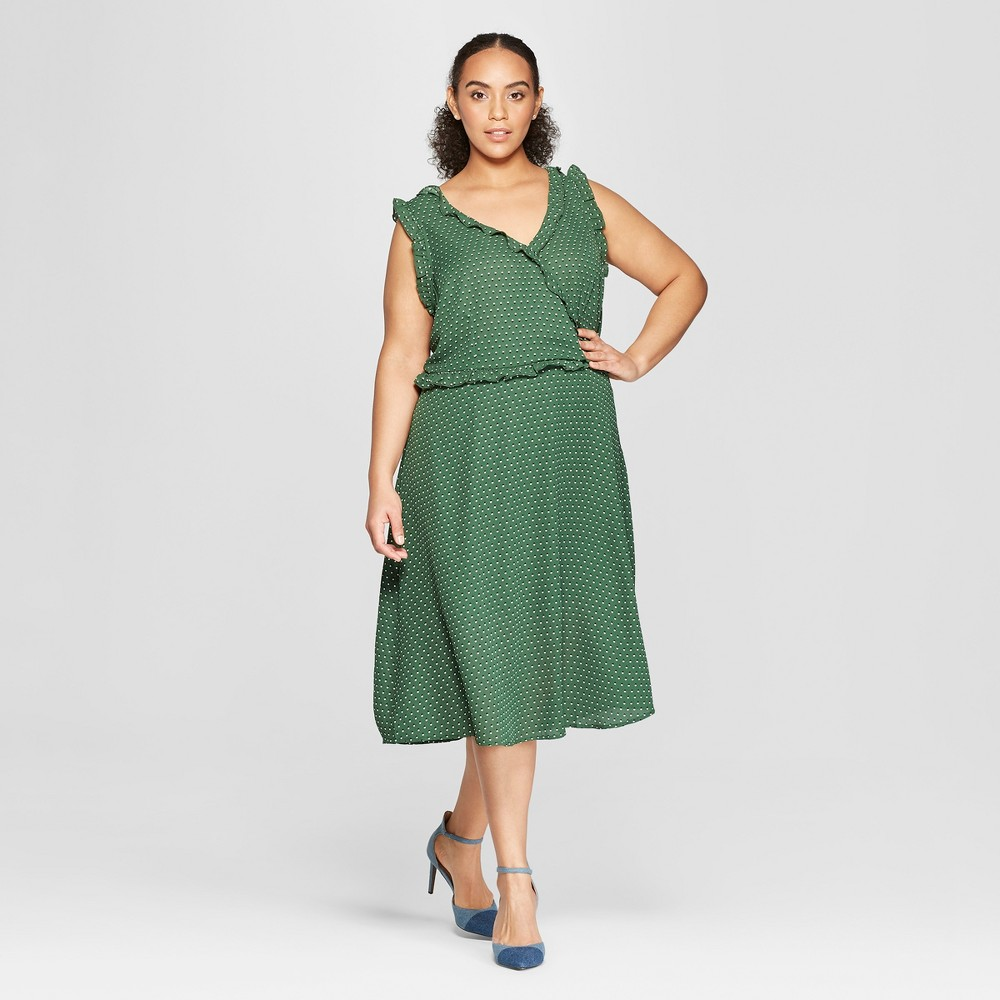 Women's Plus Size Polka Dot Sleeveless Ruffle Detail Wrap Maxi Dress - Who What Wear Green X