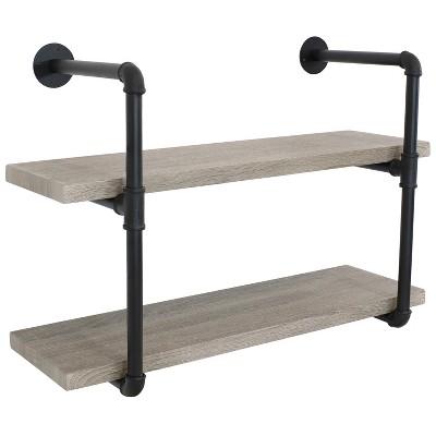 2-Tier Industrial Pipe Wall-Mounted Floating Shelf - Oak Gray Veneer - Sunnydaze Decor