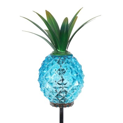 """29"""" Metal and Glass Solar Pineapple Garden Stake Blue - Exhart"""