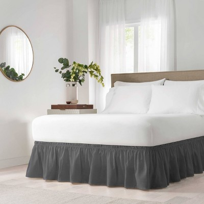 """Wrap Around Solid Ruffled Bed Skirt (Queen/King)(80"""" X 60"""")- EasyFit"""