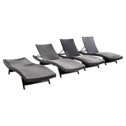 Salem 4pk Wicker Adjustable Chaise Lounge - Christopher Knight Home