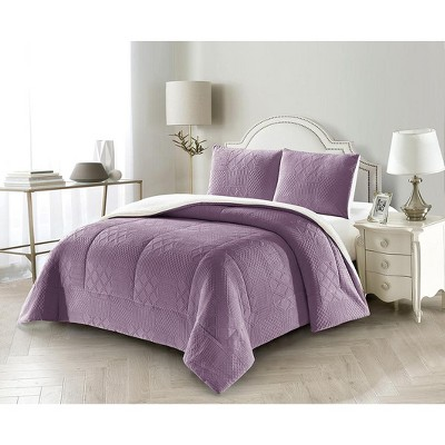 LILY NY Modern Pattern Velvet Flannel Fleece Super Soft Burnt-Out 3 PC Comforter Sets