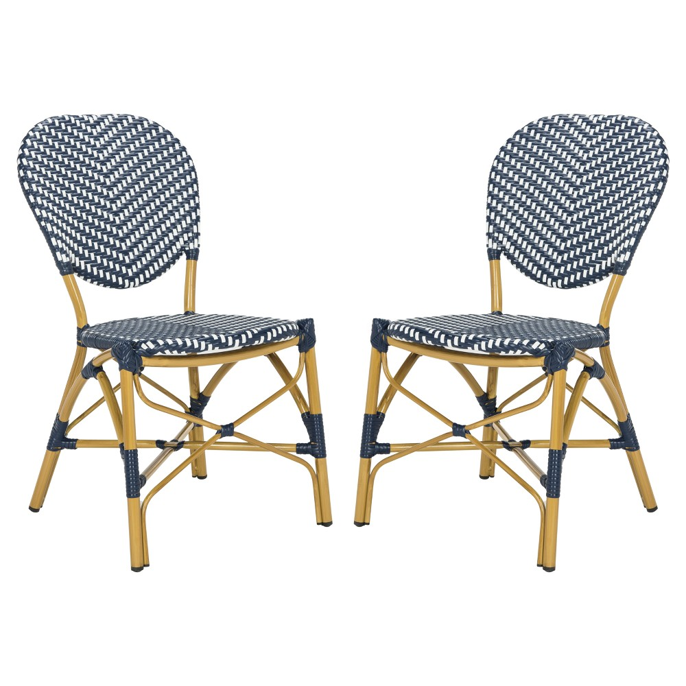 Lisbeth 2pk All-Weather Wicker Patio Stackable Side Chair - Navy/White (Blue/White) - Safavieh