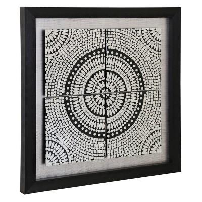 31.5  Kaleidoscope Print On Glass Mirror Framed Circle 1 Print Decorative Wall Art Black - StyleCraft