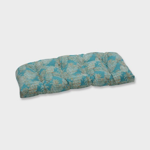 Carate Batik Lagoon Wicker Outdoor Loveseat Cushion Blue - Pillow Perfect - image 1 of 1