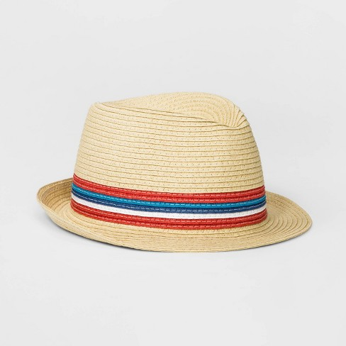 e225bb0a0 Boys' Color Block Paper Straw Fedora - Cat & Jack™ Natural One Size