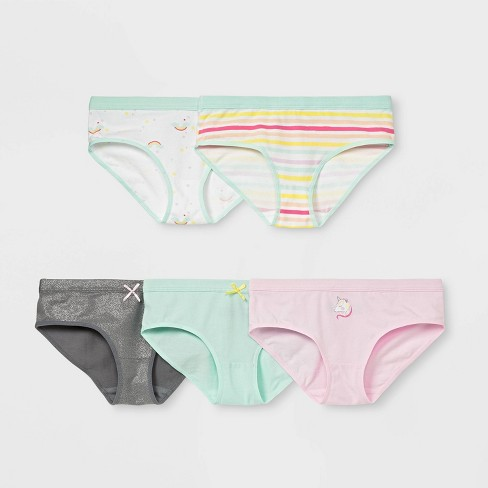 Girls' 5pk Rainbow Print Hipster Briefs - Cat & Jack™ White - image 1 of 1