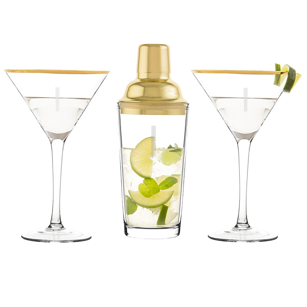 Cathy's Concepts Monogram 3pc Cocktail Shaker Set Gold I, Clear Gold
