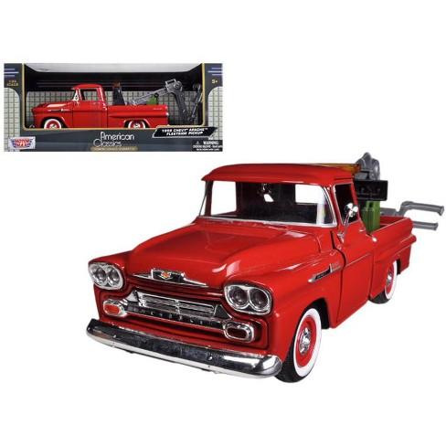 1958 Chevrolet Apache Fleetside Pickup Tow Truck Red 124 Diecast