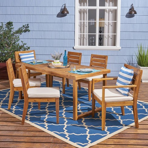 Nestor 7pc Acacia Wood Dining Set - Natural/Cream - Christopher Knight Home - image 1 of 4