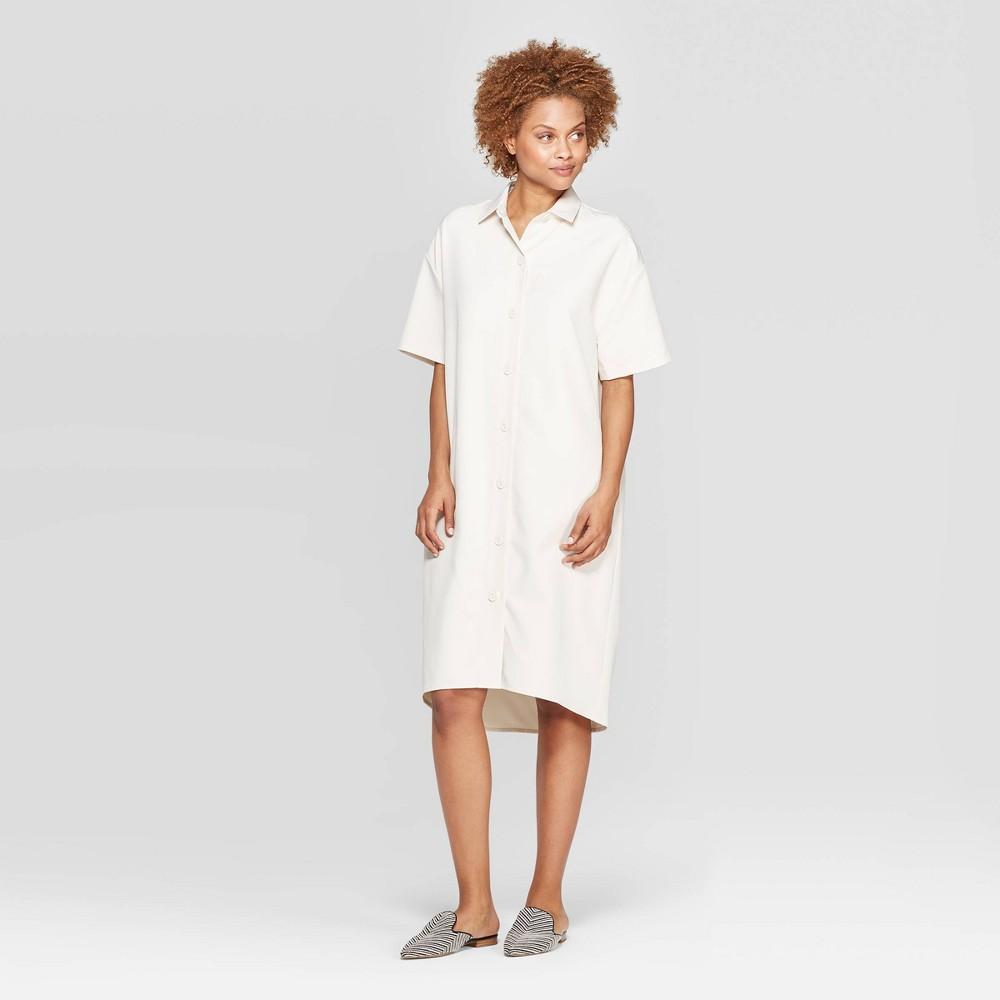 Women's Short Sleeve Collared Shirtdress - Prologue Cream (Ivory) XS