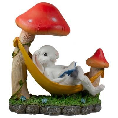 """Northlight 11.5"""" Mushrooms and Rabbit in Hammock Outside Garden Statue"""