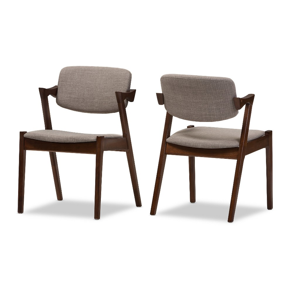 Set of 2 Elegant Mid - Century Wood and Fabric Upholstered Dining Armchairs - Light Gray,