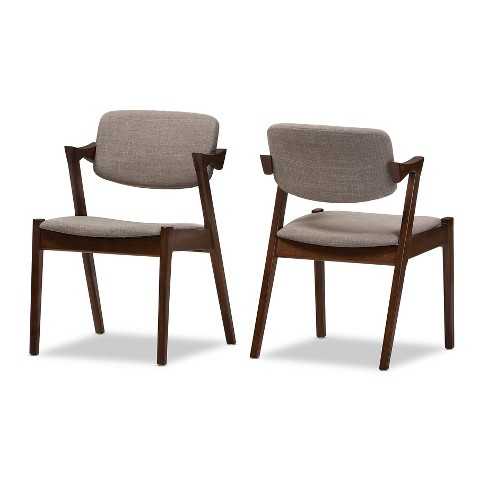 "Set of 2 Elegant Mid - Century Wood and Fabric Upholstered Dining Armchairs - Light Gray, ""Walnut"" Dark Brown - Baxton Studio - image 1 of 5"