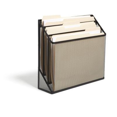 TRU RED 3 Compartment Wire Mesh File Organizer, Matte Black TR57553-CC