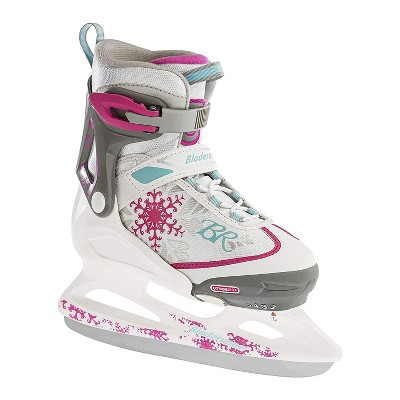 Rollerblade Bladerunner Micro Ice G Adjustable Padded Ice Skates with Rust Resistant Stainless Steel Blades, Size 2-5, White/Pink