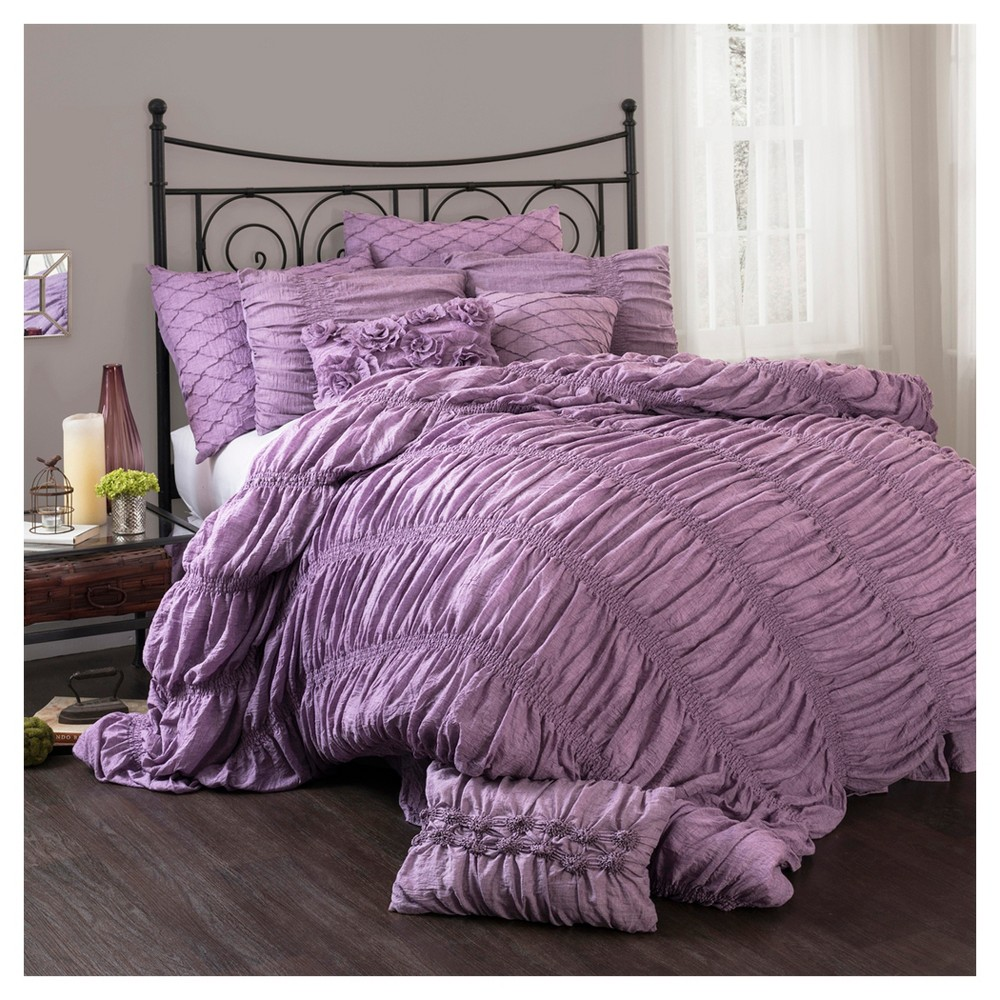 Purple Madelynn Comforter Set (Queen) 3pc - Lush Decor