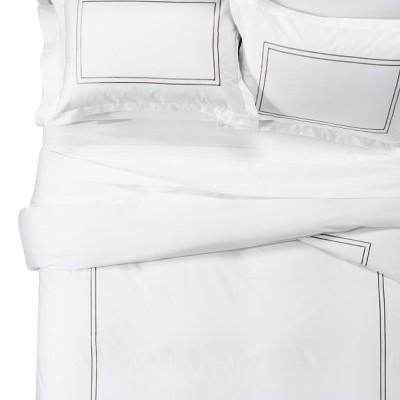 White/Afternoon Tea Tonal Hotel Duvet Cover Set (Full/Queen)- Fieldcrest®