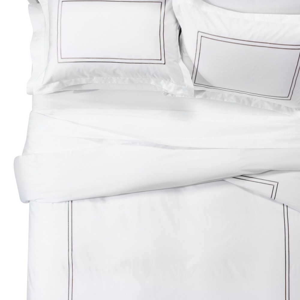 White/Afternoon Tea Tonal Hotel Duvet Cover Set (Full/Queen) - Fieldcrest