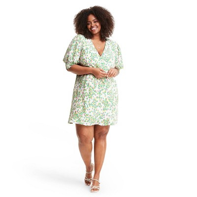 Floral Puff Sleeve Swing Dress - RIXO for Target Cream/Green