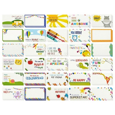 "60-Sheet Lunch Box Notes for Kids Boys Girls, Inspirational Motivational School Lunchbox Cards, 2"" x 3.5"""