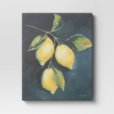"16"" x 20"" Lemon Branch Unframed Canvas Textured Linen - Threshold™"