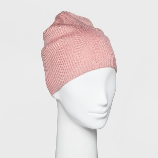 Women's Single Layer Ribbed Beanie with Lurex - Wild Fable™ Pink