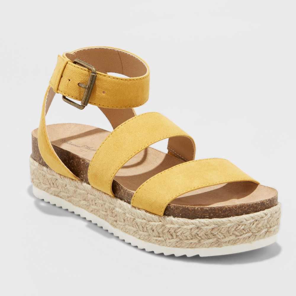 Women's Agnes Wide Width Espadrille Sandals - Universal Thread Yellow 7W, Size: 7 Wide