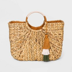 Straw Circle Tote Handbag - A New Day™ Natural