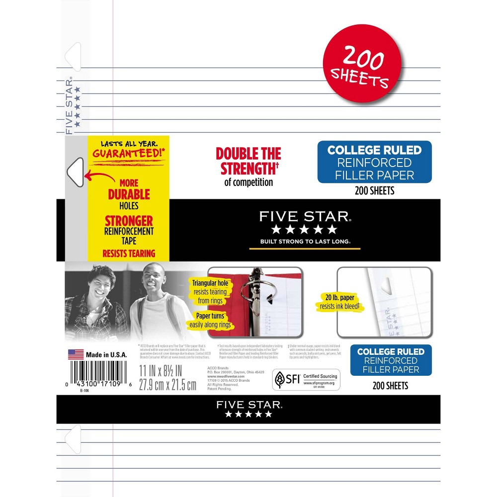 Image of Five Star 200ct College Ruled Filler Paper, White