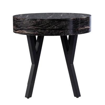 Masnan Round Faux Marble End Table Black - Aiden Lane
