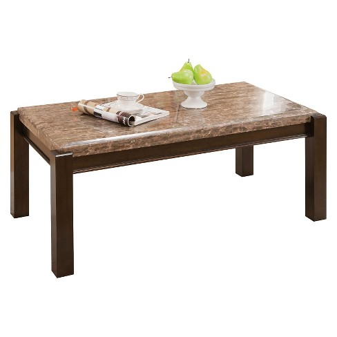 Dwayne Coffee Table Emparedora Gray Marble Top Acme