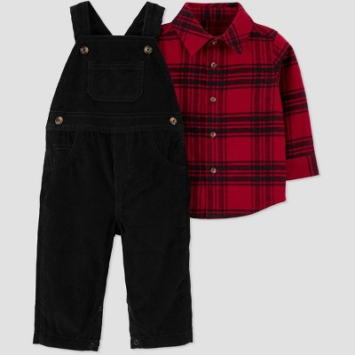Baby Boys' 2pc Plaid Overall Top & Bottom Set - Just One You® made by carter's Red 3M