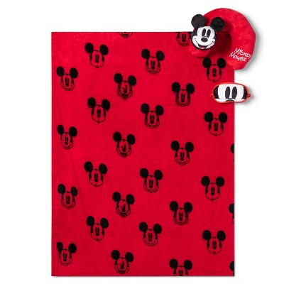 Mickey Mouse Throw and Neck Pillow Travel Set