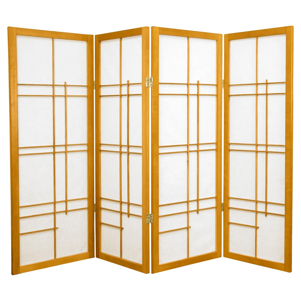 Image of 4 ft. Tall Eudes Shoji Screen - Honey (4 Panels), Orange