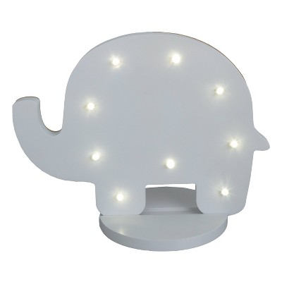 NoJo Gray Elephant Shaped Lighted Nursery Decor
