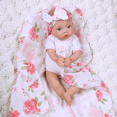 Paradise Galleries Newborn Baby Doll 16 inch Reborn Preemie, Swaddlers: Rose Petal, Safety Tested for 3+, 4-Piece Set