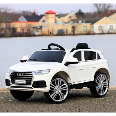 First Drive Audi Q5 Kids Electric Ride On Toy Luxury SUV for Kids Ages 3-6 Years with Remote Control, Headlights, Aux Cord, and Horn, White